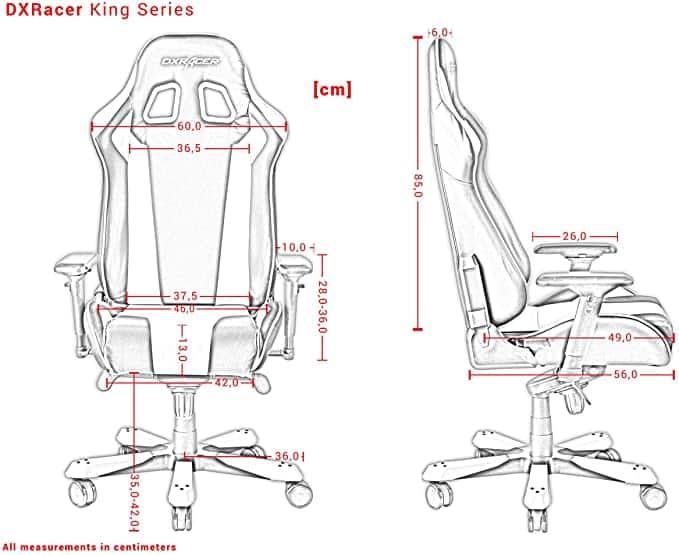 DXRacer King caractéristiques et taille dessin